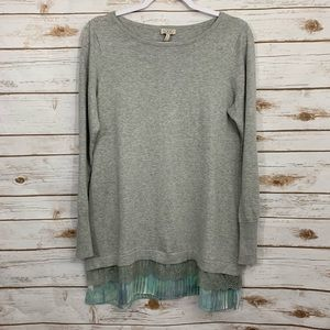 LOGO by Lori Goldstein Lace Tie Dye Sweater Tunic